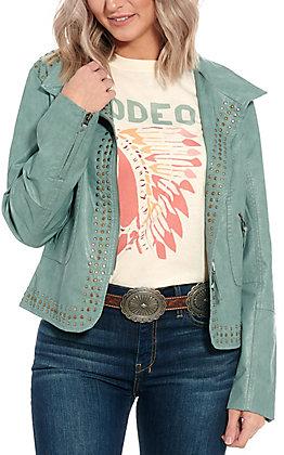 Montana Co. Women's Turquoise Studded Leather Jacket
