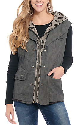Montana Co. Women's Grey Leather with Leopard Knit Hooded Vest