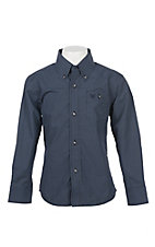 Wrangler Boys Cavender's Exclusive L/S Blue Geo Print Western Shirt