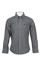 George Strait by Wrangler Boys Cavender's Exclusive L/S Charcoal Grey Print Western Shirt
