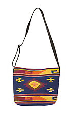 Angie Blue Woven with Multicolor Aztec Print Messenger Bag