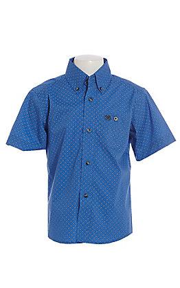 Wrangler Cavender's Exclusive Boys Blue Geo Diamond Print Short Sleeve Western Shirt