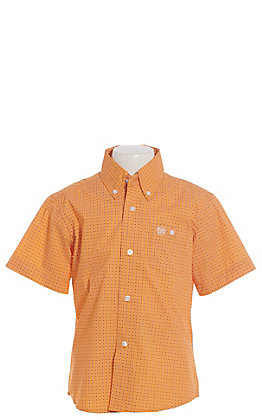 Wrangler Cavender's Exclusive Boys Orange Geo Circle Print Short Sleeve Western Shirt