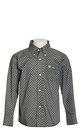Wrangler Boys Black and White Geo Print Long Sleeve Western Shirt - Cavender's Exclusive