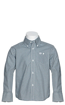 Wrangler Boys' White with Navy and Green Diamond Print Long Sleeve Western Shirt