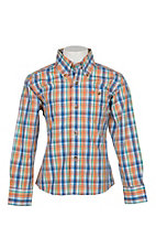 Wrangler Boys Orange and Blue Classic Plaid L/S Western Shirt