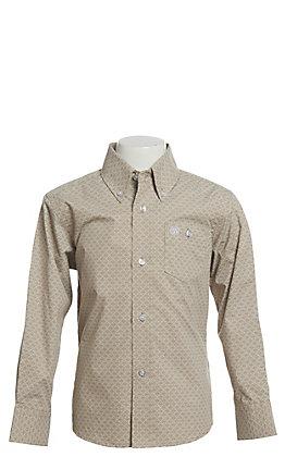 Wrangler Boy's Tan Geo Print Long Sleeve Western Shirt