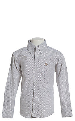 Wrangler Boys' White Geo Print Long Sleeve Western Shirt