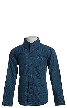 Wrangler Boys' Blue & Black Geo Print Long Sleeve Western Shirt