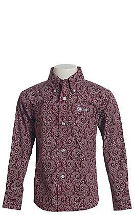 Wrangler Boys' Burgundy Paisley Print Long Sleeve Western Shirt