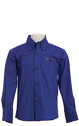 Wrangler Cavender's Exclusive Boys' Royal & White Geo Print Long Sleeve Western Shirt