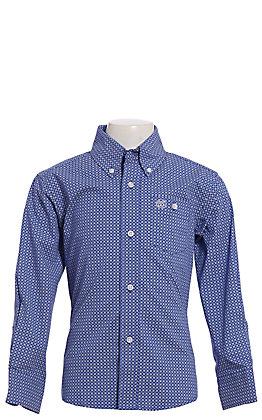 Wrangler Cavender's Exclusive Boys' Navy Geo Print Long Sleeve Western Shirt