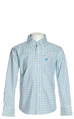 Wrangler Boys' White with Turquoise and Purple Geo Print Stretch Long Sleeve Western Shirt - Cavender's Exclusive