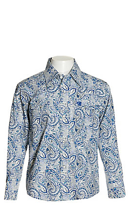 Wrangler Boys' White with Blue Paisley Print Stretch Long Sleeve Western Shirt - Cavender's Exclusive