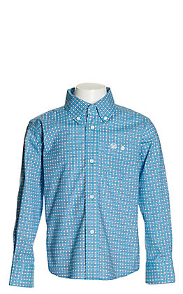 Wrangler Boys' Turquoise with Purple and White Geo Print Stretch Long Sleeve Western Shirt - Cavender's Exclusive