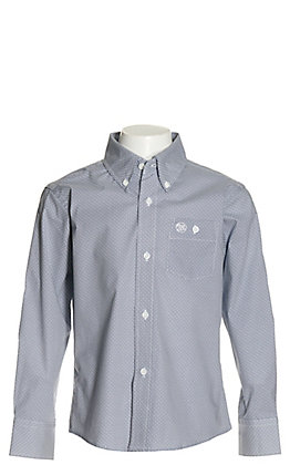 Wrangler Boys' White with Navy Diamond Print Stretch Long Sleeve Western Shirt - Cavender's Exclusive