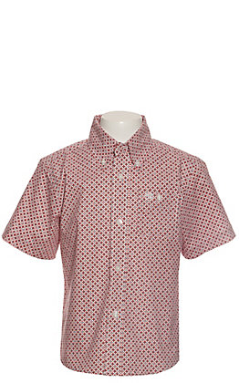 Wrangler Boys White with Red & Turquoise Geo Print Short Sleeve Western Shirt - Cavender's Exclusive