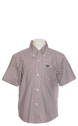 Wrangler Boys White with Burgundy Geo Print Short Sleeve Western Shirt - Cavender's Exclusive