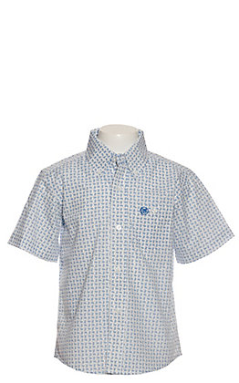 Wrangler Boys White with Navy Paisley Print Short Sleeve Western Shirt - Cavender's Exclusive