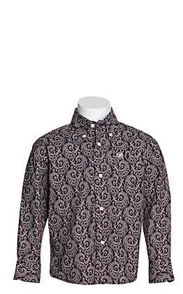 Wrangler George Strait Boys' Burgundy with White Paisley Print Stretch Long Sleeve Western Shirt