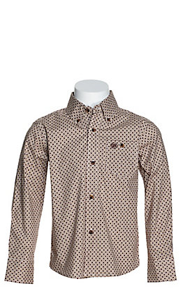 Wrangler George Strait Boys' Tan and Burgundy Geo Print Stretch Long Sleeve Western Shirt