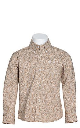 Wrangler George Strait Boys' Khaki with White Paisley Print Stretch Long Sleeve Western Shirt