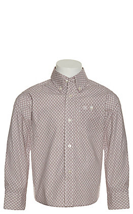 Wrangler George Strait Boy's White with Burgundy Medallion Print Stretch Long Sleeve Western Shirt