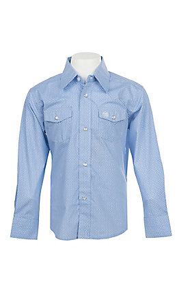 Wrangler George Strait Collection Boys Cavender's Exclusive Blue Geo Print Long Sleeve Western Shirt