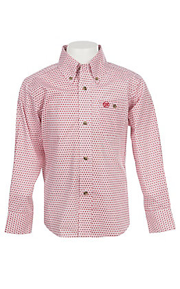 Wrangler George Strait Collection Boys Cavender's Exclusive Red Print Long Sleeve Western Shirt