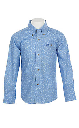 Wrangler George Strait Collection Boys Cavender's Exclusive Blue Paisley Long Sleeve Western Shirt