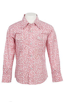 Wrangler George Strait Collection Boys Cavender's Exclusive Red Paisley Long Sleeve Western Shirt