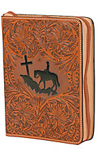 3D Belt Company Tooled Cowboy at Cross Leather Bible Cover