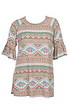 James C Women's Brown and Pink Aztec Print 3/4 Ruffle Sleeve Dress - Plus Size