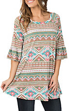 James C Women's Brown and Pink Aztec Print 3/4 Ruffle Sleeve Dress