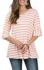 James C Women's Pink and Ivory Stripe Fashion Shirt