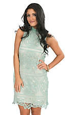 Champagne & Strawberry Women's Sage Lace with Tan Lining Sleeveless Body Con Dress