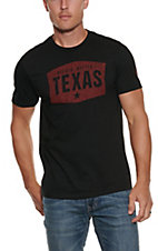Mason Jar Label Men's Black with Red Bigger Better Texas Screen Print Short Sleeve T-Shirt