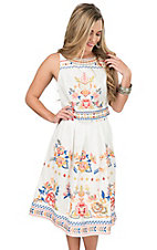 Champagne & Strawberry Women's Ivory with Floral Embroidery High Waist Skirt