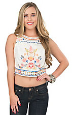 Champagne & Strawberry Women's Ivory with Floral Embroidery Fashion Crop Top