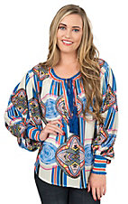 Champagne & Strawberry Women's Cream with Multi Colored Multi Prints Long Victorian Puffy Sleeves Fashion Shirt
