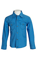 Wrangler Boys Solid Blue Western Shirt BJ1447B