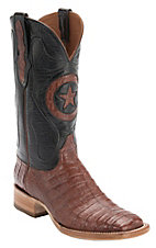 Black Jack Men's Black Goat Foot with Cognac Caiman Belly Star Inlay Square Toe Western Boots