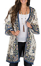 Angie Women Oatmeal with Blue Floral Print 3/4 Sleeve Kimono