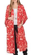 Angie Women's Red with White Floral Print 3/4 Sleeve Duster Kimono