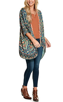 Angie Women's Green, Blue and Peach with Lace Trim Kimono