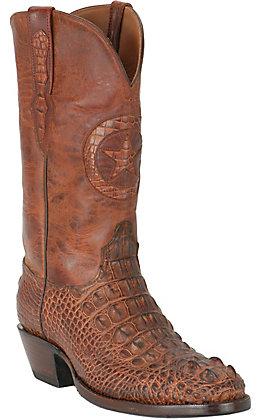 Black Jack Men's Lone Star Burnished Cognac Hornback Alligator R-Toe Exotic Western Boots