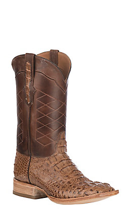 Black Jack Men's Burnished Brown Caiman Hornback Exotic Wide Square Toe Boots