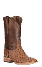 Black Jack Men's Burnished Brown Full Quill Ostrich and Cigar Western Exotic Wide Square Toe Boots