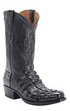 Black Jack Men's Black Caiman Alligator Hornback Tail Exotic Snip Toe Western Boots