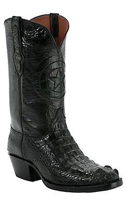 Black Jack Men's Lone Star Black Hornback Alligator Traditional Toe Western Boots